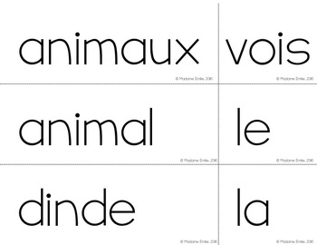 FRENCH Farm Animals Pocket Chart Center/ Atelier phrases Animaux ferme