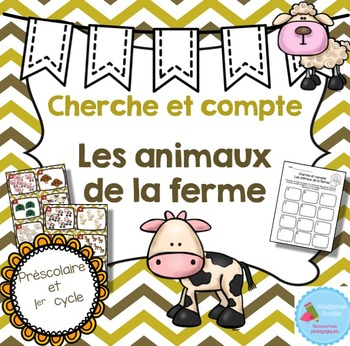 FRENCH Farm animals Count the room/ Cherche et compte (Animaux de la ferme)