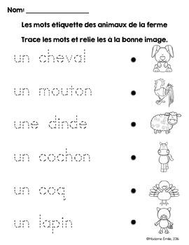 FRENCH {Farm animals Words center}/ Animaux de la ferme{Étiquettes-mots}