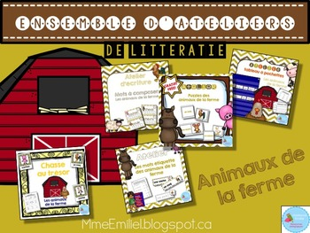FRENCH {Farm animals} literacy pack/ Ensemble littératie Animaux de la ferme