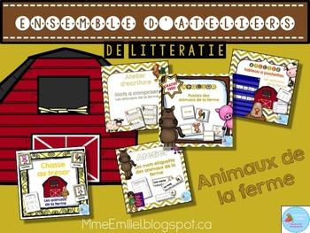 FRENCH {Farm animals} literacy pack/ Ensemble littératie A