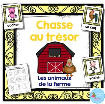 FRENCH {Farm animals words Scavenger Hunt}/ Animaux ferme{chasse aux mots}