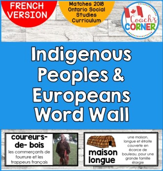 FRENCH First Nations and Europeans in New France and Early Canada Word Wall