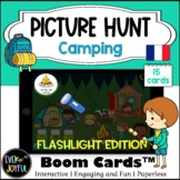 FRENCH Flashlight Picture Hunt Boom Cards™ | Camping (With