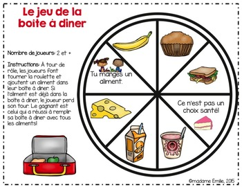 FRENCH {Food} Lunch box Game/ Jeu de la Boîte à dîner (alimentation)
