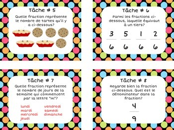 FRENCH Fractions Task Cards (32 cards) Cartes à tâches - Math Center Activity