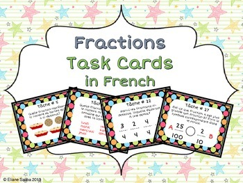 FRENCH Fractions Task Cards (32 cards) Cartes à tâches - M