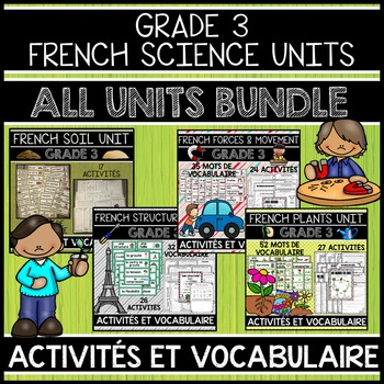 FRENCH GRADE 3 ALL SCIENCE UNITS BUNDLE (SOIL, STRUCTURES, FORCES & PLANTS)