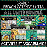 FRENCH GRADE 4 ALL SCIENCE UNITS BUNDLE (ROCKS, HABITATS, PULLEYS, LIGHT, SOUND)