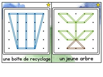 FRENCH Geoboard Earth Day Math Centre - le jour de la Terre - Géoplans