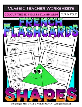 FRENCH - Geometric Shapes Flashcards -3D Shapes with Faces-Colour the Flashcards