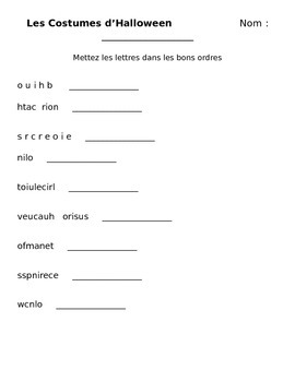 FRENCH Halloween Activities/ Worksheets