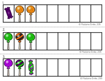 FRENCH Halloween Math Centers/ Ateliers numératie (bonbons d'Halloween)