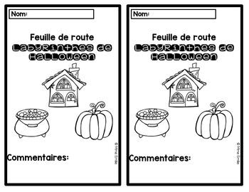 FRENCH Halloween Mazes Mats/ Atelier motricité fine (labyrinthes de Halloween)
