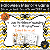FRENCH Halloween Memory Game (K-3 Core French)