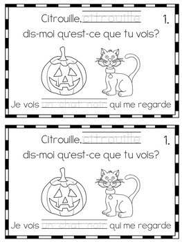FRENCH Halloween Mini Booklets {trace/colour; trace/draw} (Grade 1 Core French)