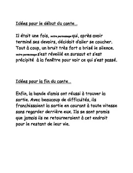 FRENCH Halloween Scary Story Writing Activity