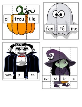 FRENCH Halloween Simple Syllables