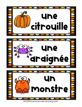 FRENCH Halloween Vocabulary Cards