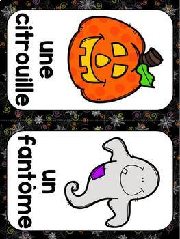 FRENCH Halloween Word Wall Cards /Halloween Mots de vocabulaire