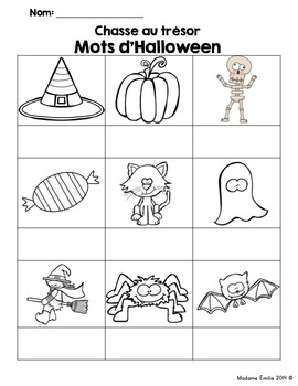 FRENCH {Halloween words Scavenger Hunt}/Halloween {chasse aux mots}