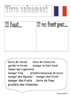 FRENCH - WORKSHEET - Health - Vivre Sainement