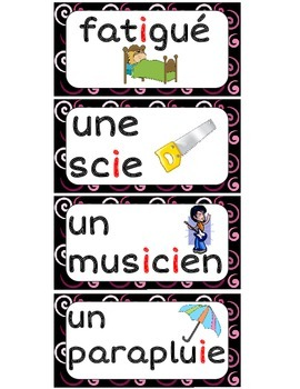 Le son I (67 mots) - FRENCH Phonics High Frequency Words Word Wall