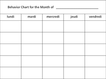 FRENCH - Hockey Themed Behavior Chart