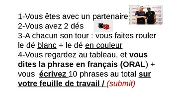 FRENCH I/II - LES MEDIAS: FAIRE DES PHRASES: JEU AVEC 2 DES