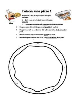 FRENCH IMMERSION Faisons de la pizza fractions review
