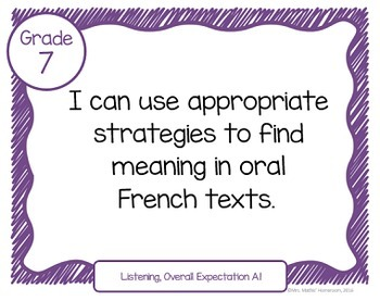 """Learning Goals FRENCH IMMERSION Grade 7 """"I Can"""" Statements (Ontario)"""