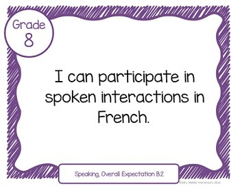 """Learning Goals FRENCH IMMERSION Grade 8 """"I Can"""" Statements (Ontario Curriculum)"""