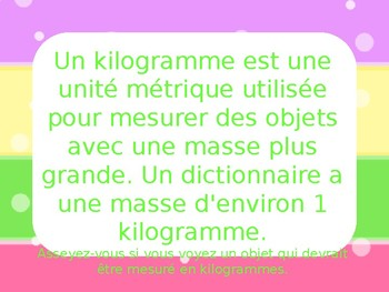 FRENCH IMMERSION Grams or Kilograms? Stand up or sit down game