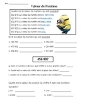 FRENCH IMMERSION PLACE VALUE SHEET