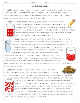 FRENCH IMMERSION States of matter reading comprehension