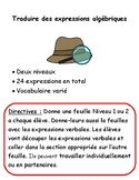 FRENCH IMMERSION Translating Algebraic Expressions Matching Activity