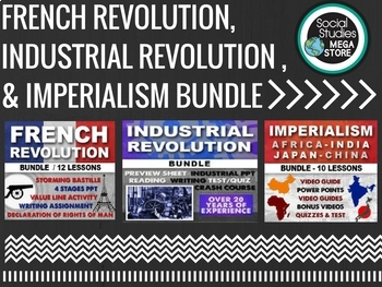 FRENCH & INDUSTRIAL REVOLUTION, IMPERIALISM, READING, WRITING ACTIVITY BUNDLE