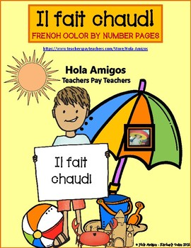 FRENCH - Il fait chaud! Summer color by number pages