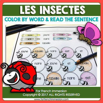 FRENCH Insects Color by Word   Les Insectes