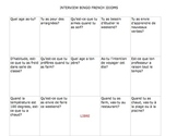 FRENCH Interview Bingo  Avoir Idioms