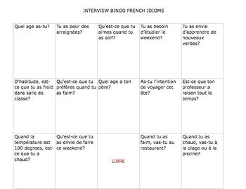 FRENCH Interview Bingo  Avoir Idioms