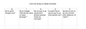 FRENCH Interview Bingo Le Passe Compose