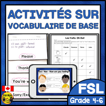 FRENCH Introductory Vocabulary Unit