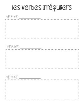 FRENCH Irregular Present Tense Verbs Study Tool for INTERA