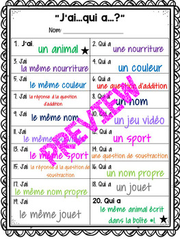 """FRENCH """"Jai...qui a...?"""" Template [Make your own game]"""