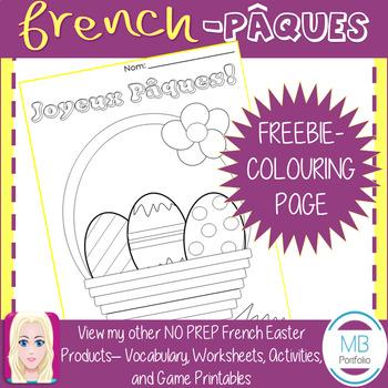 FRENCH: Joyeux Pâques FREE NO PREP Colouring Page