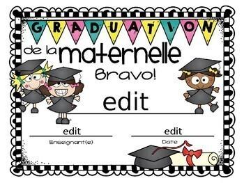 FRENCH Kindergarten Graduation Diploma