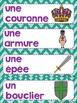 FRENCH {Knights and Castle} Word wall cards/ Mots étiquett