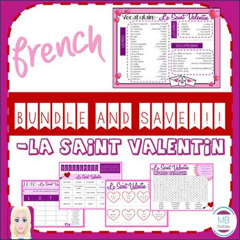 FRENCH- La Saint Valentin BUNDLE- Vocabulary, Games & Worksheets (Valentine's)