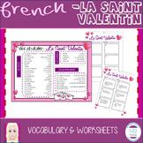 FRENCH- La Saint Valentin Worksheets & Vocab/ Valentine's Day